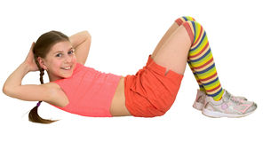 Girl does sports exercises Stock Photos