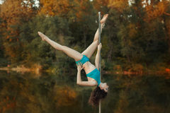 Girl does tricks on a pole dance. Royalty Free Stock Photos