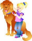 Girl with dog. Vector illustration in Adobe Illustrator EPS format stock illustration