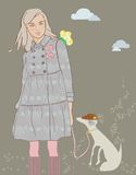 Girl with dog. Girl is to walk with dog Royalty Free Stock Photos