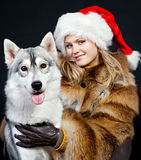 Girl with a dog Stock Photo