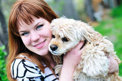 Girl and dog Royalty Free Stock Photos