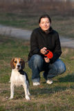 Girl with a dog Royalty Free Stock Image