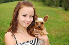 A girl with a dog Royalty Free Stock Photography