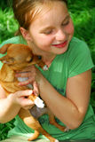 Girl with a dog Royalty Free Stock Photos