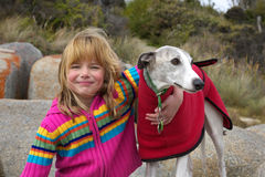 Girl and dog. A little girl enjoying a cuddle with her whippet Royalty Free Stock Images