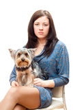 Girl with a dog Stock Photography
