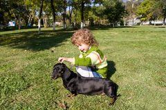 Girl and dog. The little girl walks with a dog (dachshund) in park Stock Photos
