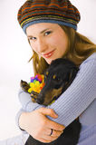 The girl with a dog Royalty Free Stock Images