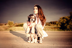 Girl and dog Royalty Free Stock Photography