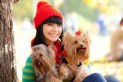 Girl with dog Stock Photos