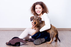 Girl with dog Royalty Free Stock Photo