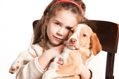 Girl and dog Royalty Free Stock Image