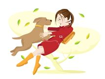Girl and dog. Royalty Free Stock Photography