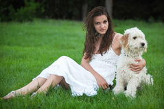 Girl with dog Royalty Free Stock Image
