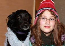 Girl and dog stock photography