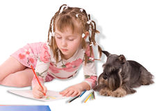 The girl and dog Royalty Free Stock Images