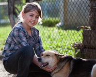 Girl with dog Stock Photo
