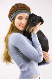 The girl and a dog Royalty Free Stock Image