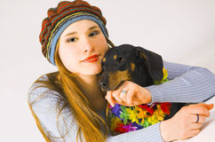The girl  and a dog Royalty Free Stock Images