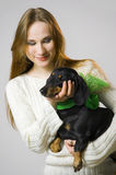 The girl  and a dog Royalty Free Stock Photo