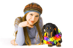 The girl  and a dog Stock Photography
