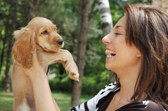 A girl and a dog Stock Photography