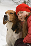 Girl with a dog. In the fores royalty free stock photography