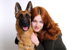 The  girl and the  dog Royalty Free Stock Images