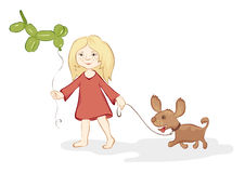 Girl with a dog and balloon Girl with a dog and b Royalty Free Stock Images