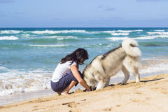 Girl dog beach Royalty Free Stock Photography