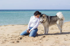 Girl with dog on beach royalty free stock photography