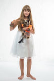 Girl with the dog Stock Photo