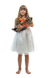 Girl with the dog Stock Photography