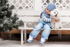 Girl with a dog on a bench outside the house Royalty Free Stock Image