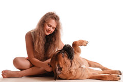 Girl and dog bullmastiff Royalty Free Stock Photos