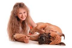 Girl and dog bullmastiff Stock Photography