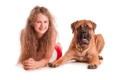 Girl and dog bullmastiff. Happy playful teenage girl and a dog bullmastiff. isolated on white background royalty free stock image