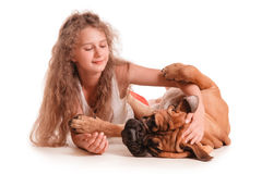 Girl and dog bullmastiff Royalty Free Stock Photography