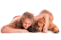 Girl and dog bullmastiff Stock Photo