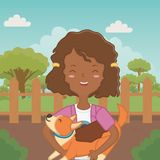Girl with dog cartoon design vector illustration