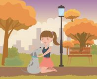 Girl with dog cartoon design royalty free illustration