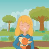 Girl with dog cartoon design stock illustration