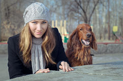 Girl with Dog. Royalty Free Stock Photos
