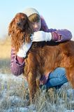 The girl with a dog. Royalty Free Stock Photo