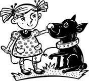 Girl with a dog.Children. Royalty Free Stock Images