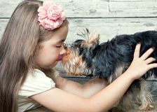 A girl with a dog Royalty Free Stock Photos