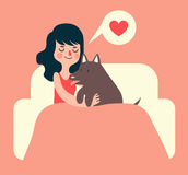 Girl and Dog on Couch Stock Image