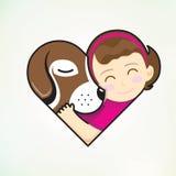 Girl and dog embrace love. Girl and dog embrace in love shape Stock Image