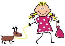 Girl and dog, funny vector illustration